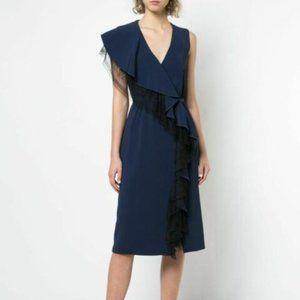 Adam Lippes Cady Lace Ruffle Wrap Midi Dress